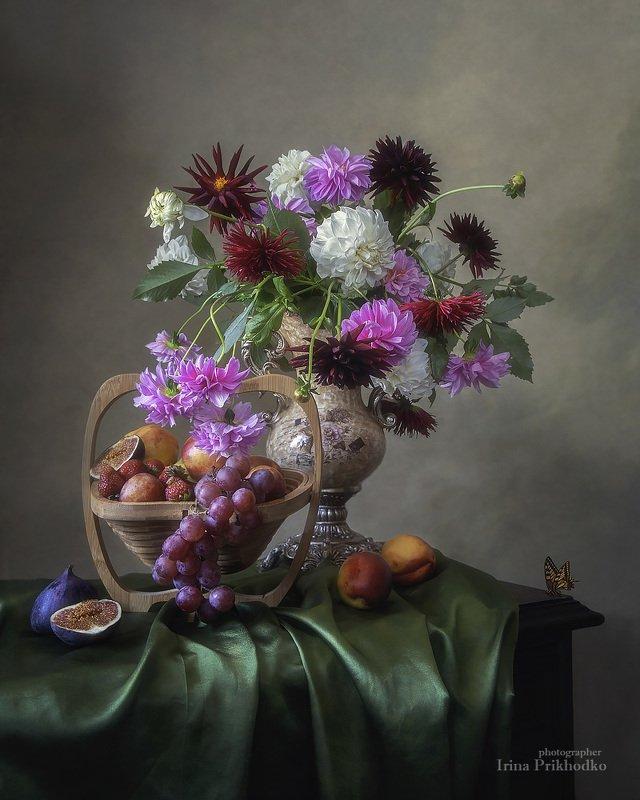 натюрморт, цветы, букеты, фрукты, винтажный, художественное фото Сентябрьские дарыphoto preview