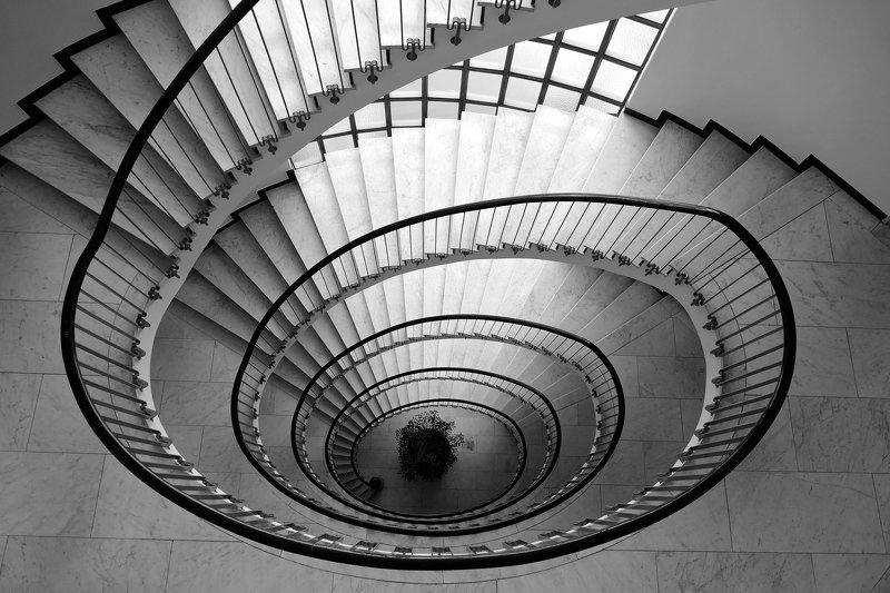 black&white, architecture, spiral, Switzerland, staircase, lines, light,  Spiralphoto preview