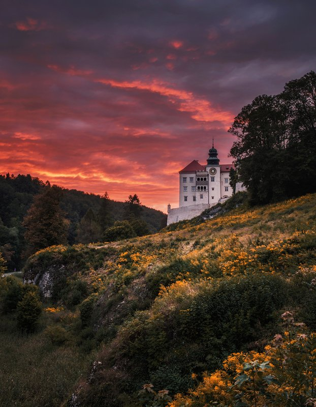 mountains, poland, light, sunset, sun, light, landscape, hills, warm, colors, spring, light, long exposure, castle, architecture In the flames of sunset and flood of goldenrodphoto preview