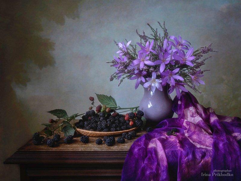 натюрморт, осень, букеты, цветы, вереск, крокусы, ежевика, художественная фотография Сентябрь в сиреневых тонахphoto preview