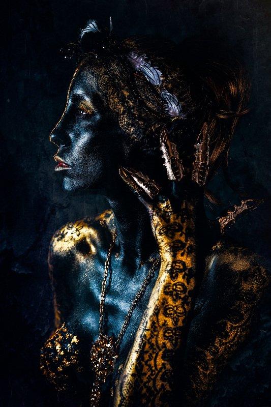woman, portrait, conceptual, studio, bodyart Don\'t get too close, it\'s Dark inside...photo preview