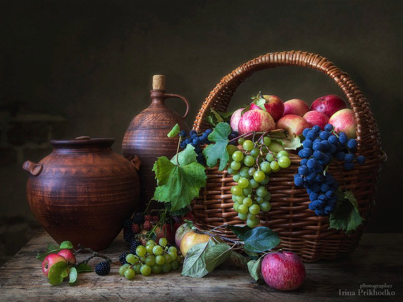 натюрморт, осень, винтажный, фрукты, деревенский, художественное фото Дары сентябрьского садаphoto preview