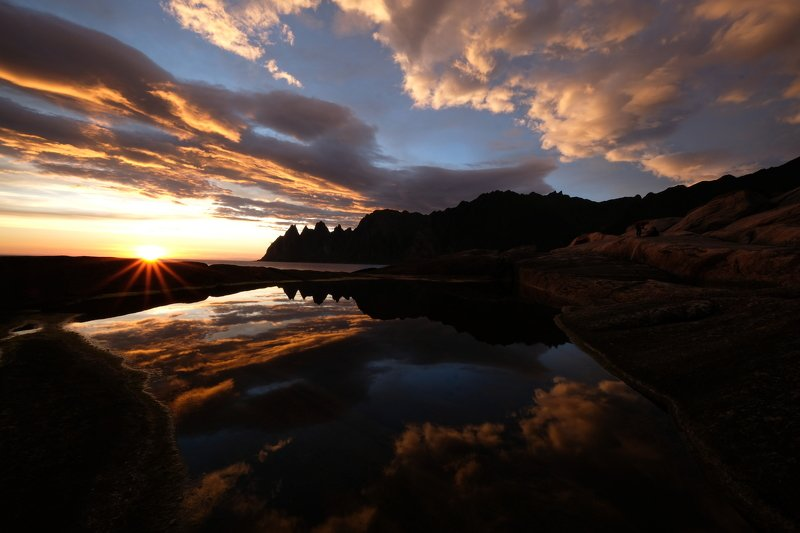 landscape, nature, reflection, sky, colors, Norway, sunset, summer, mood, sun, light, mountain, seascape, Равновесиеphoto preview