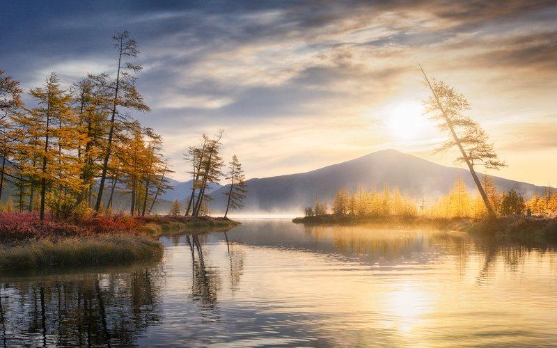 осень, колыма, озеро джека лондона Золотые воды Пургиphoto preview