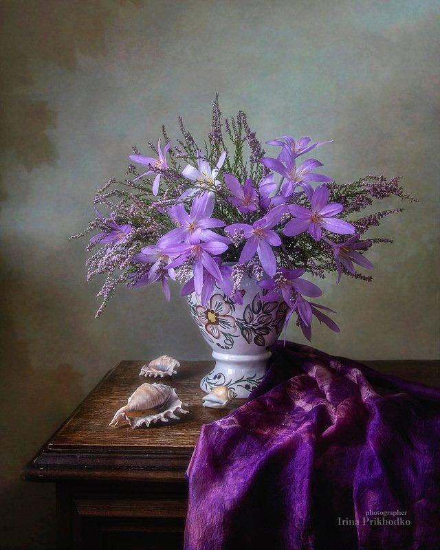 натюрморт, цветы, безвременники, вереск, букет, сентябрь, художественное фото Сентябрьское похолоданиеphoto preview