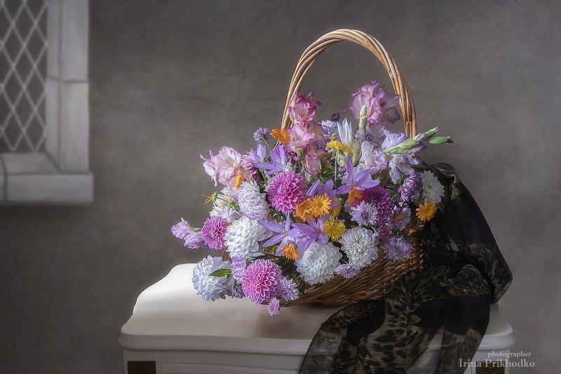 натюрморт, цветочный, винтажный, корзина, флористика, букет, садовые цветы Подарок от сентябряphoto preview