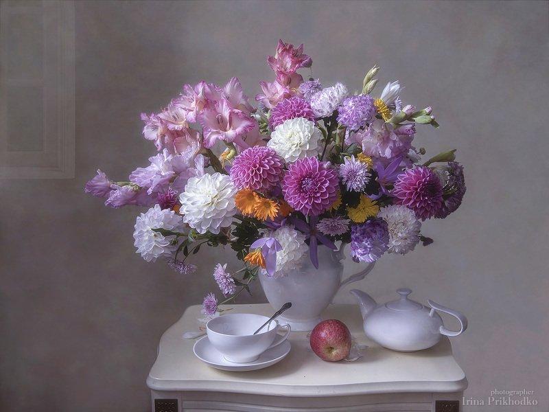 натюрморт, настроение, букет, цветы, осень, чайный столик, английский фарфор Чаша лета испита до днаphoto preview