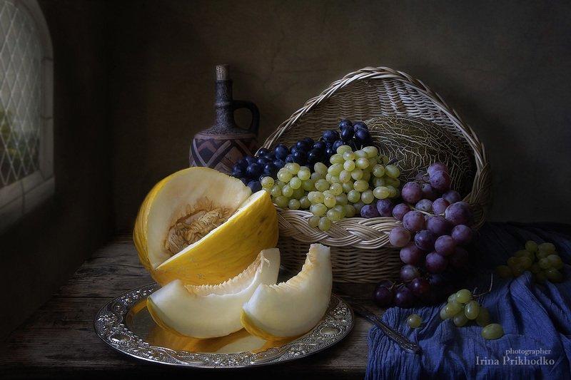 натюрморт, винтажный, фрукты, виноград, дыня, художественное фото Натюрморт с дынейphoto preview