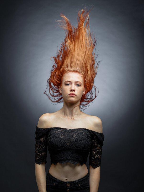 женский портрет,студийный портрет,красивая девушка,арт,рыжие Далияphoto preview