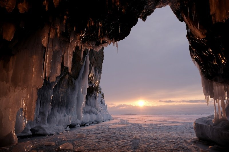 landscape, nature, baikal, lake, russia, travel, pink, colorful, ice, ice cave, frozen, snow, mood,  Закат на Байкалеphoto preview