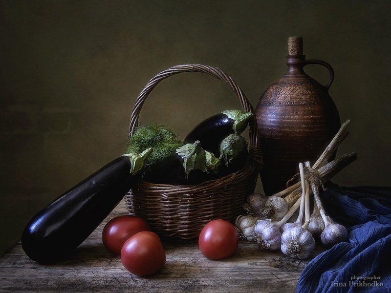 натюрморт, винтажный, деревенский, овощи, урожай, баклажаны Натюрморт с баклажанамиphoto preview