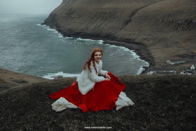 water, ocean, mountains, rain, model, smile, faroe, island, woman, model, portrait, The Windphoto preview