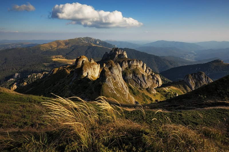 autumn, trees, clouds, rocks, landscape, travel, nature, mountain, romania, aternoon Sunny Dayphoto preview