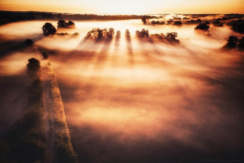 drone, poland, fields, mist, fog, morning, sunrise, sunset, awesome, adventure, amazing, air, autumn, mavic, dji, landscape, countryside The sea of ​​mistsphoto preview