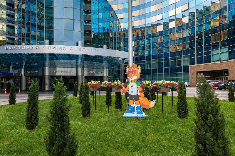виктория олимп; европейский; игры; 2019; минск Символ II Европейских игр 2019 в Минске возле отеля Виктория Олимпphoto preview