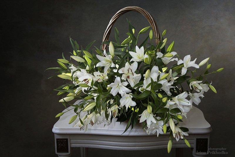 натюрморт, лилии, цветы, букет, корзина, винтажный, цветочный С корзиной белых лилийphoto preview