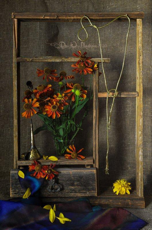 цветы,шнурок,стакан,воронка,полка,платок,лепестки ***photo preview