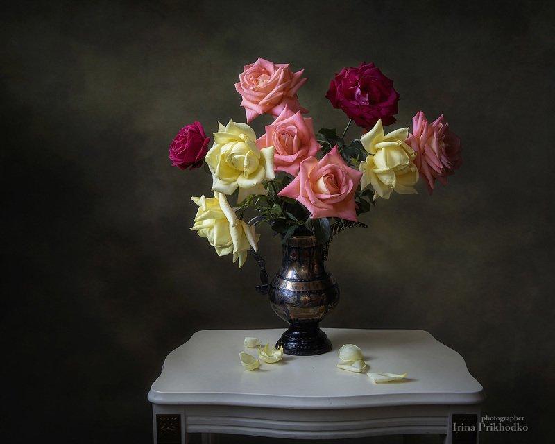 натюрморт, розы, букет, художественное фото Сентябрьские садовые розыphoto preview