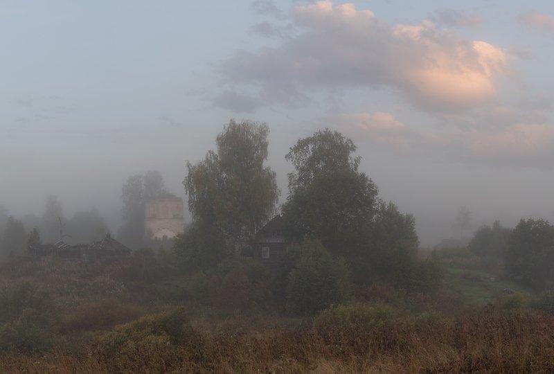 новгородская область, туман, осень, сентябрь, утро Грусть-печальphoto preview