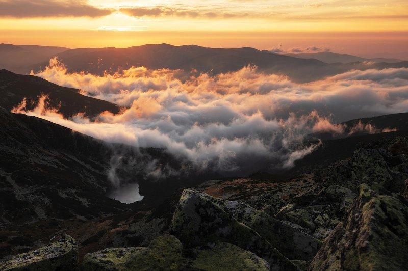 autumn, trees, fog, sunset, landscape, travel, nature, mountain, romania, cold, light Golden Sunsetphoto preview