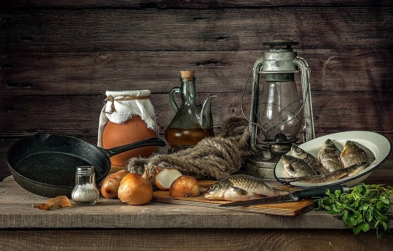 лампа, караси, сковорода Утренний уловphoto preview