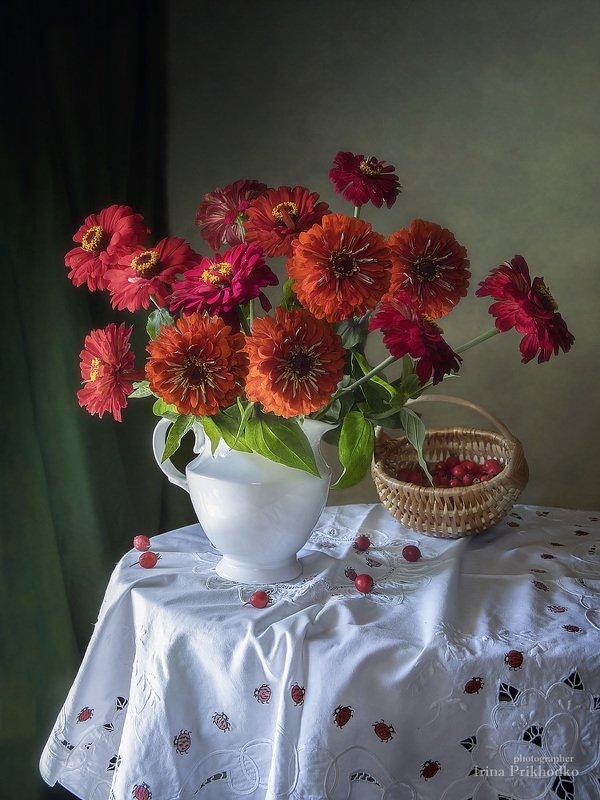 натюрморт, букет, цветы, плоды, художественное фото Цинии и боярышникphoto preview