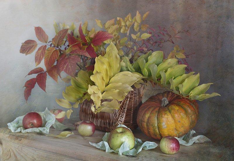 натюрморт ,осень, листва ,тыква ,вера павлухина, За окном сентябрь.....photo preview