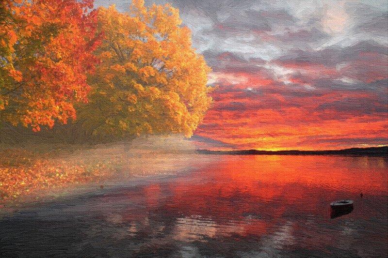 digital art Осеннее озероphoto preview