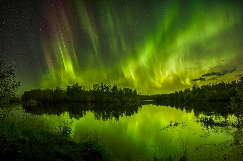 архангельская обасть, ночное фото, белое море, русский север, северное сияние Танец небесных Валькирийphoto preview
