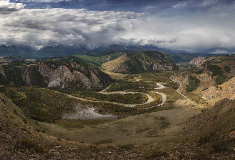 алтай, озеро, горы, лес, природа, закат, рассвет, красота, приключения, путешествие Пролетая над красавицей Чуейphoto preview