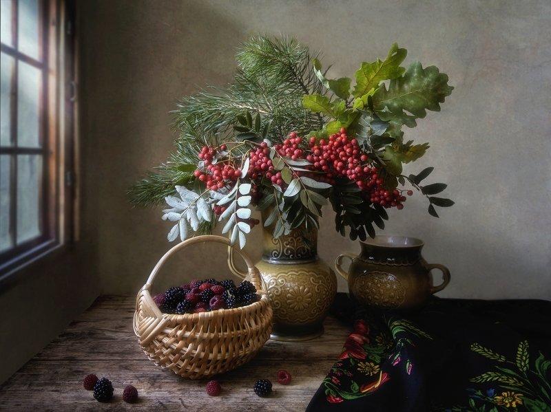 натюрморт, осень, букет, ягоды, осенняя малина, рябина, букет, настроение Осенний этюдphoto preview
