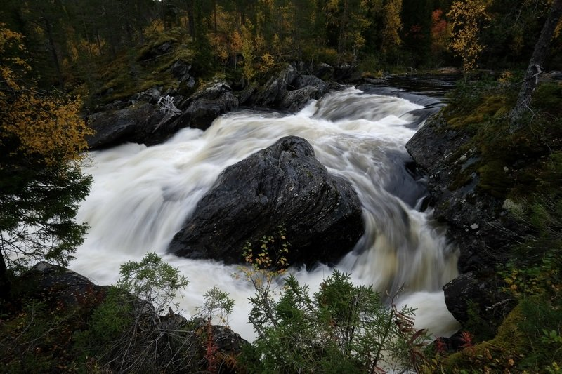 landscape, nature, river, stream, water, autumn, fall, forest, long exposure, Norway, stone, colors,  Сильное течениеphoto preview